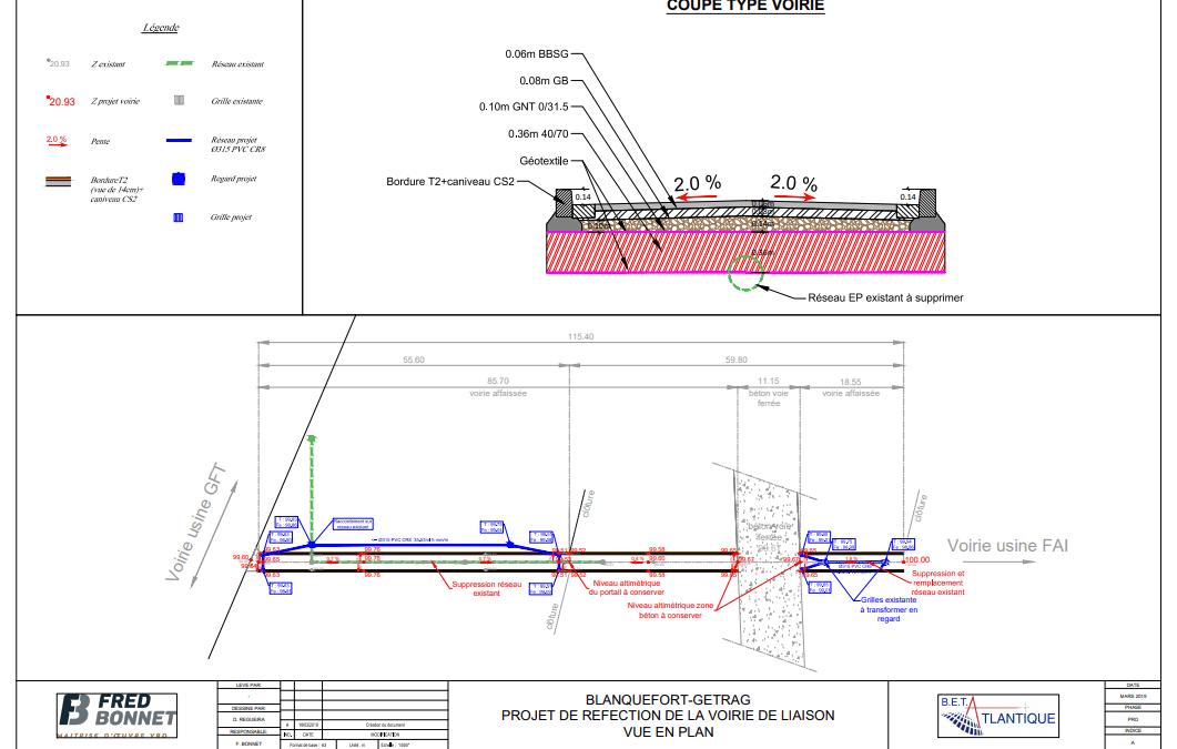 Réfection d'une voie de livraison sur le site de GETRAG à Blanquefort